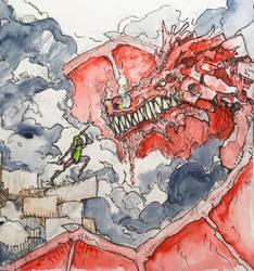 Pickle Rick vs Dragon by Dil-Relevart
