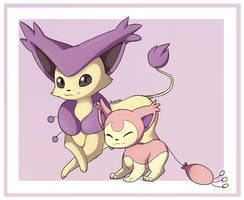 Delcatty and Skitty by Quarbie