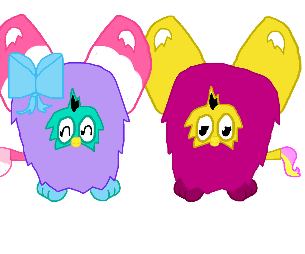 Rainbow Biscuit and Heart Bolt as Furbies by mlpprincessalpha
