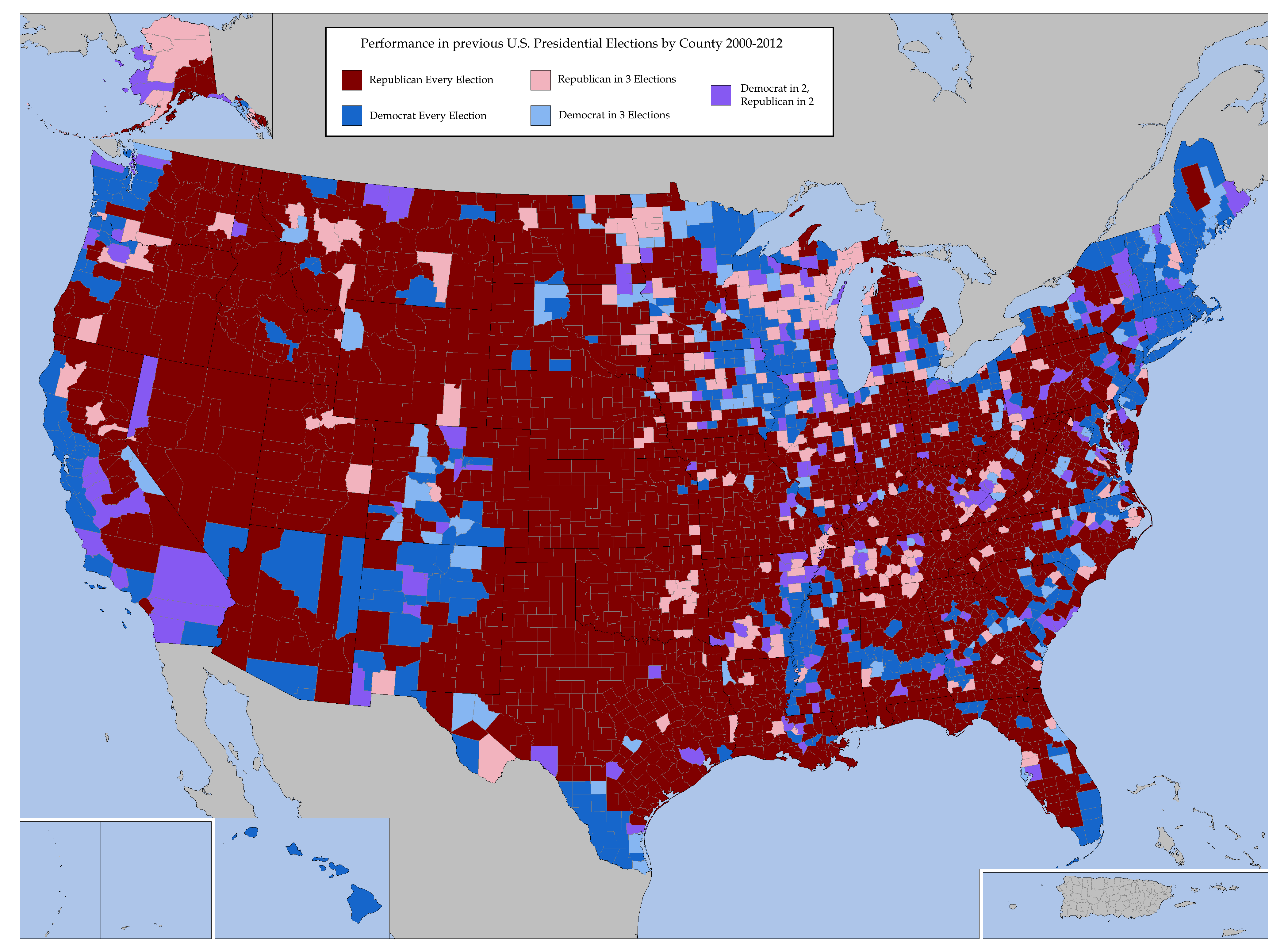 us presidential elections by county  oc  mapporn - i'm not sure how to edit the main link but here's a fixed version