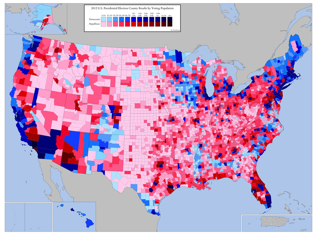2012 Presidential Election by Voting Population by ToixStory on