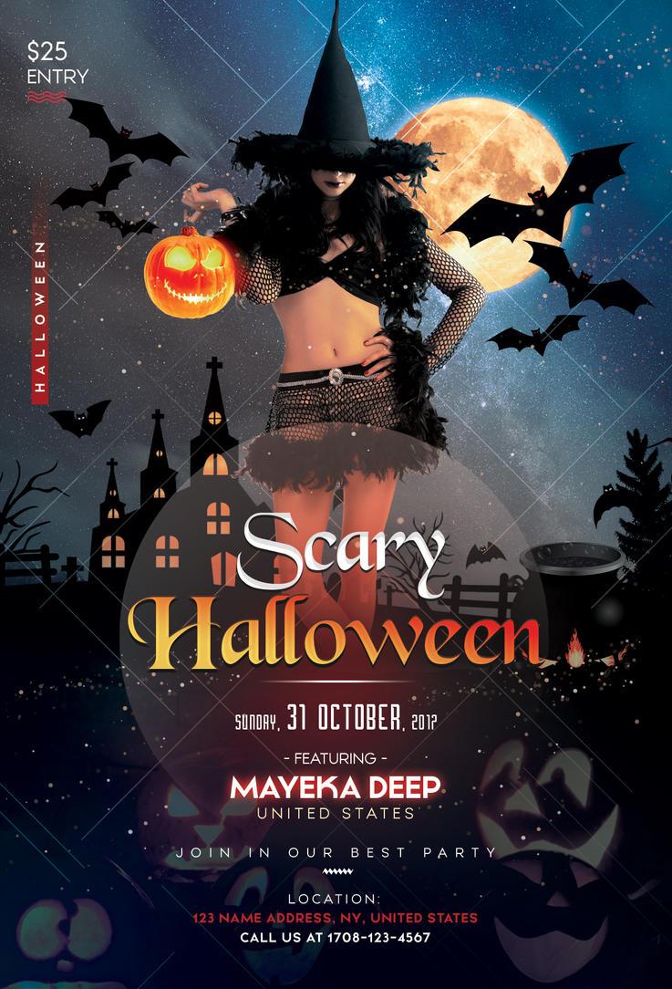 Scary halloween psd flyer template by fidan selmani on deviantart for Halloween psd