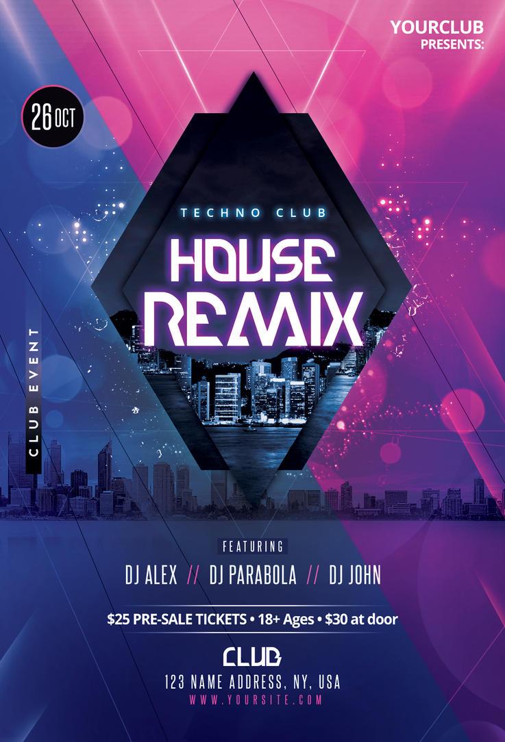 House Remix Techno Party Flyer Template By Fidan Selmani On Deviantart