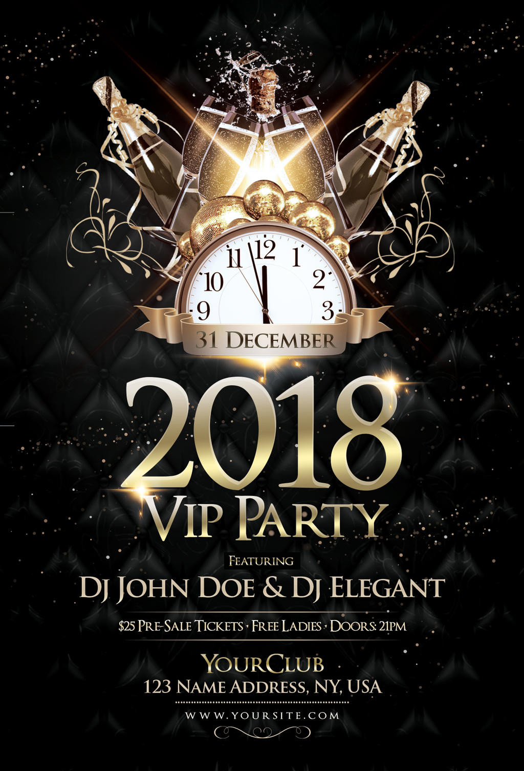 2018 NYE VIP Party - PSD Flyer Template by fidan-selmani on