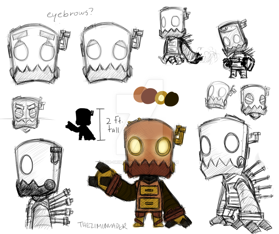 Cartoon Characters As Robots : Robot character concept by sir grimmington on deviantart