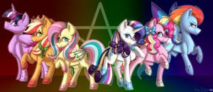 Rainbow Powered Mane 6 Redraw +Speedpaint