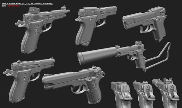 Smith Wesson Model 39-2 Mk.22 Mod.0 Hush Puppy ASP
