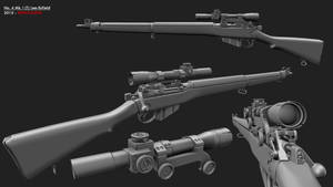 Lee-Enfield No.4 Mk.1(T) Sniper Rifle by redroguexiii