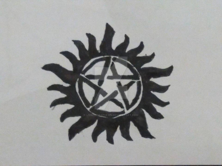 Supernatural's Anti-possession tattoo drawing by