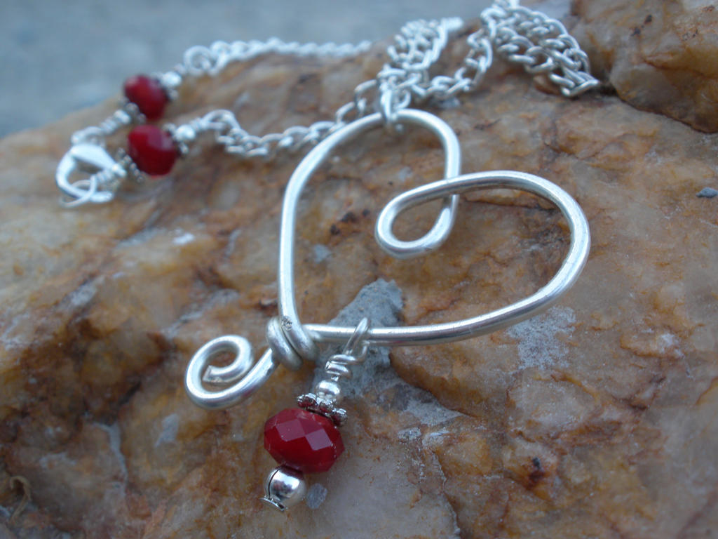 Silver plated Wire Heart Pendant Necklace with Red by ChloeLB on ...