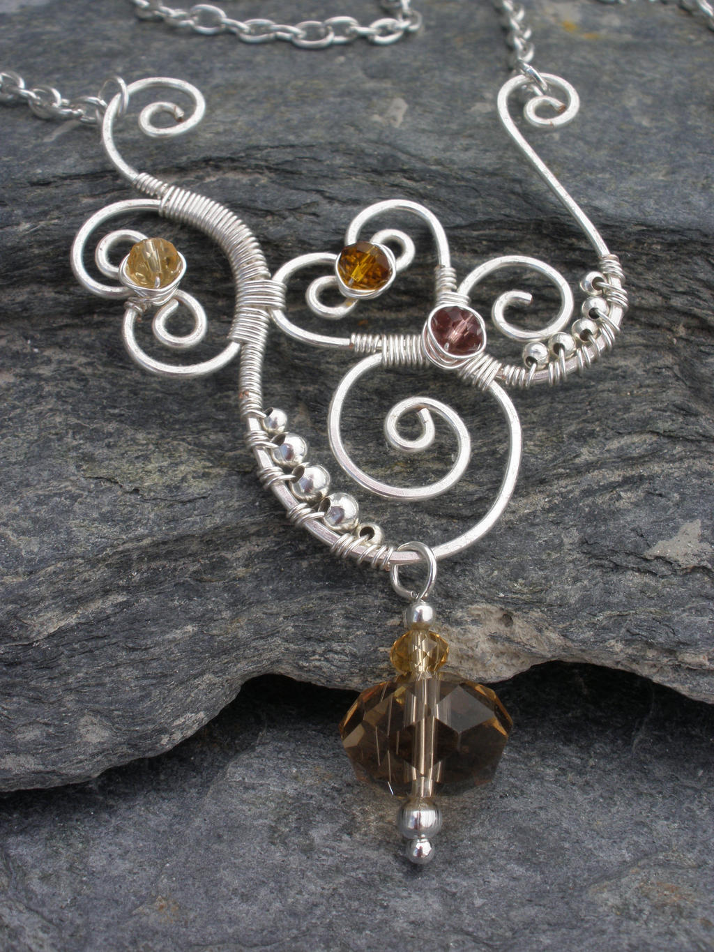 Wire wrapped necklace with Czech Glass Crystals by ChloeLB on DeviantArt