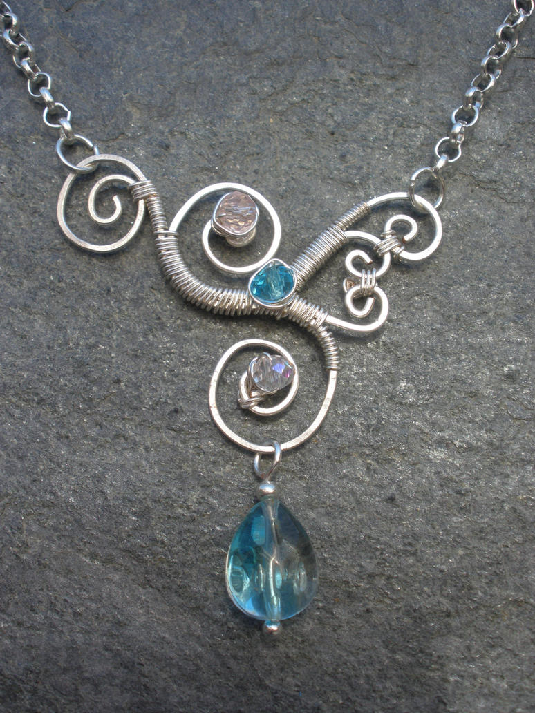 Wire Wrapped Jewelry : Asymmetrical wire wrapped pendant by chloelb on deviantart
