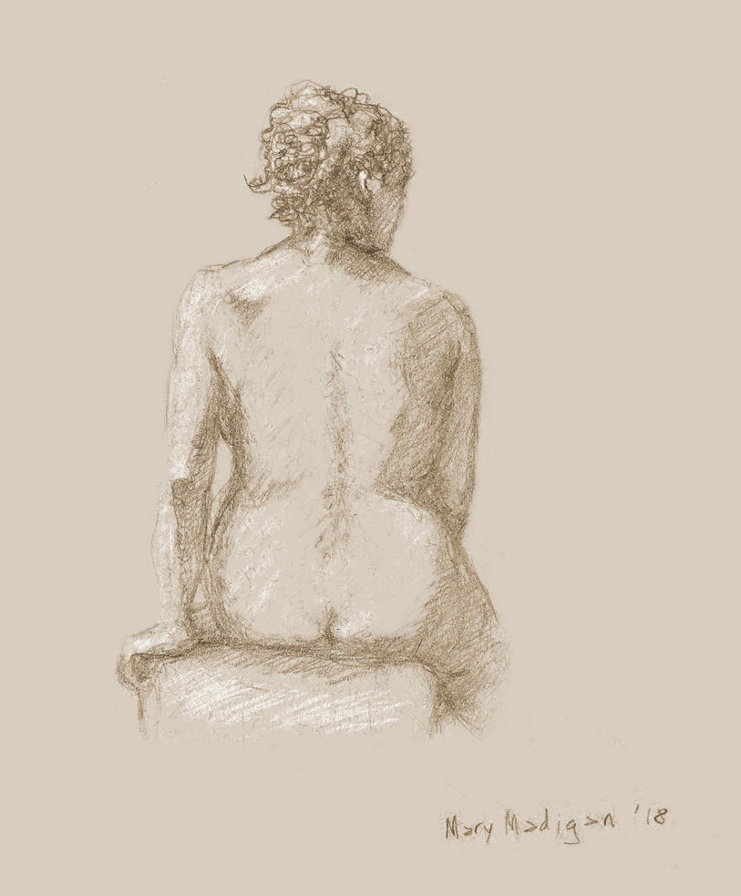 Art class sketch - Woman facing away by marypmadigan