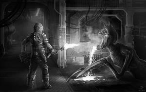 Dead Space - Giant spitting necromorph by Jack-Burton25