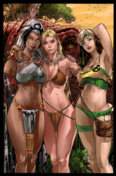 Storm  Shanna and Rogue in  Savage Land by HaphazardMachine
