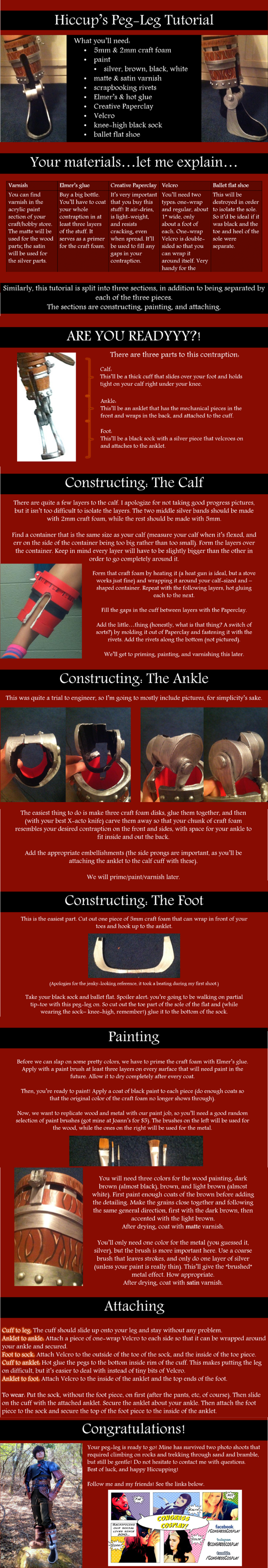 Hiccup's Peg-Leg/False Foot Cosplay Tutorial by oOPrincessLinkOo