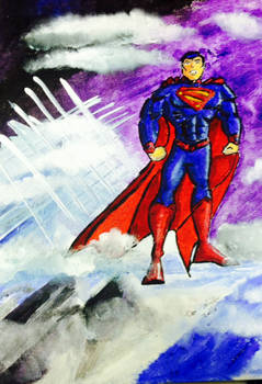 Superman in Acrylic paint