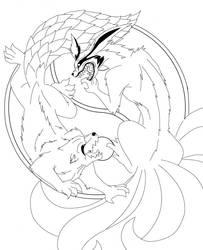 Yin Yang::Ichibi vs Kyuubi by CyanFox3