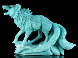 Amazonite tailed fox carving 1