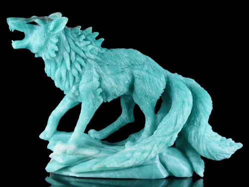 Amazonite tailed fox carving 1 by goiku