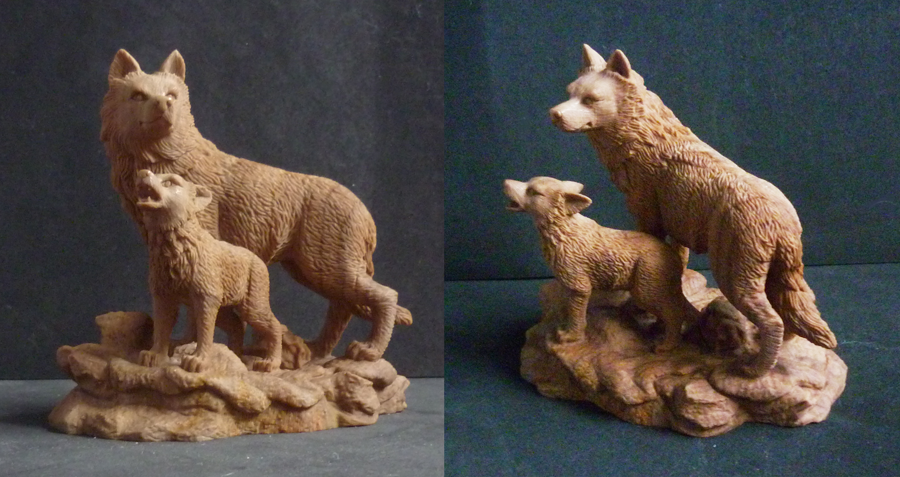 Wolf and cub fossil carving by goiku on deviantart