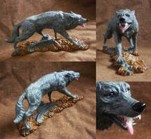 FOR SALE: Fossil stone wolf carving by CyanFox3