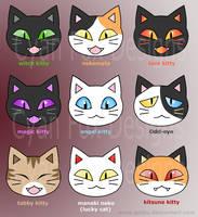 Kitty face designs by CyanFox3