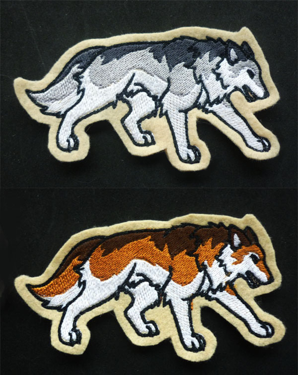 Prowling Wolves - embroidery patches by goiku