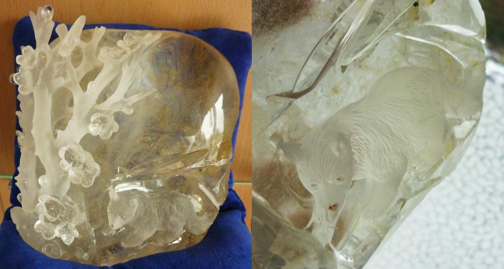 FOR SALE: Arctic Fox - gem carving by goiku