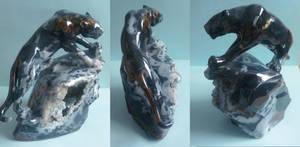 Climbing panther - gem carving