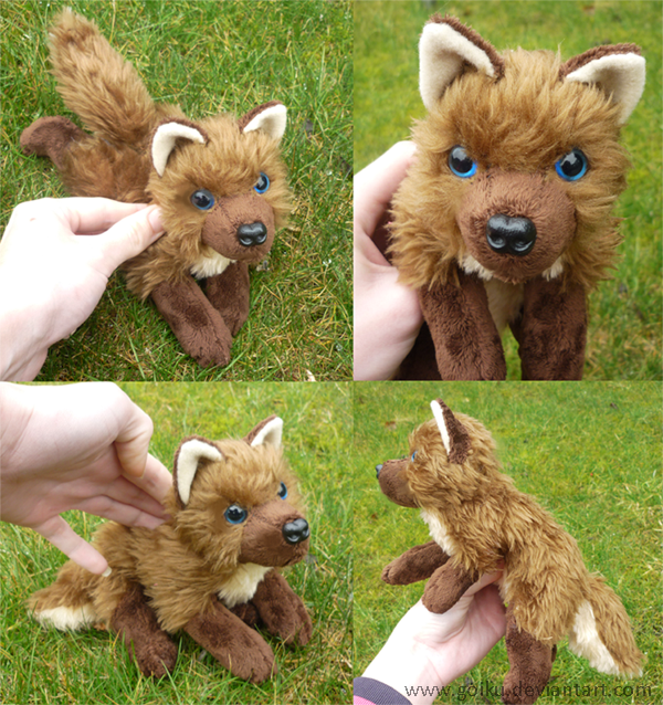 Chocolate brown wolf - small floppy by goiku