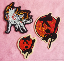 Embroidered Okami patches by CyanFox3