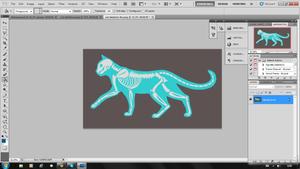 In progress - X-Ray cat embroidery by CyanFox3