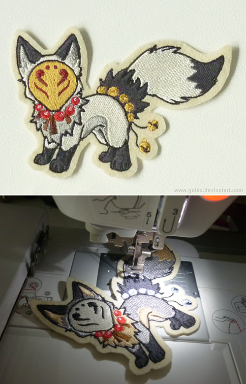 Embroidered little Fox Spirit patch by goiku