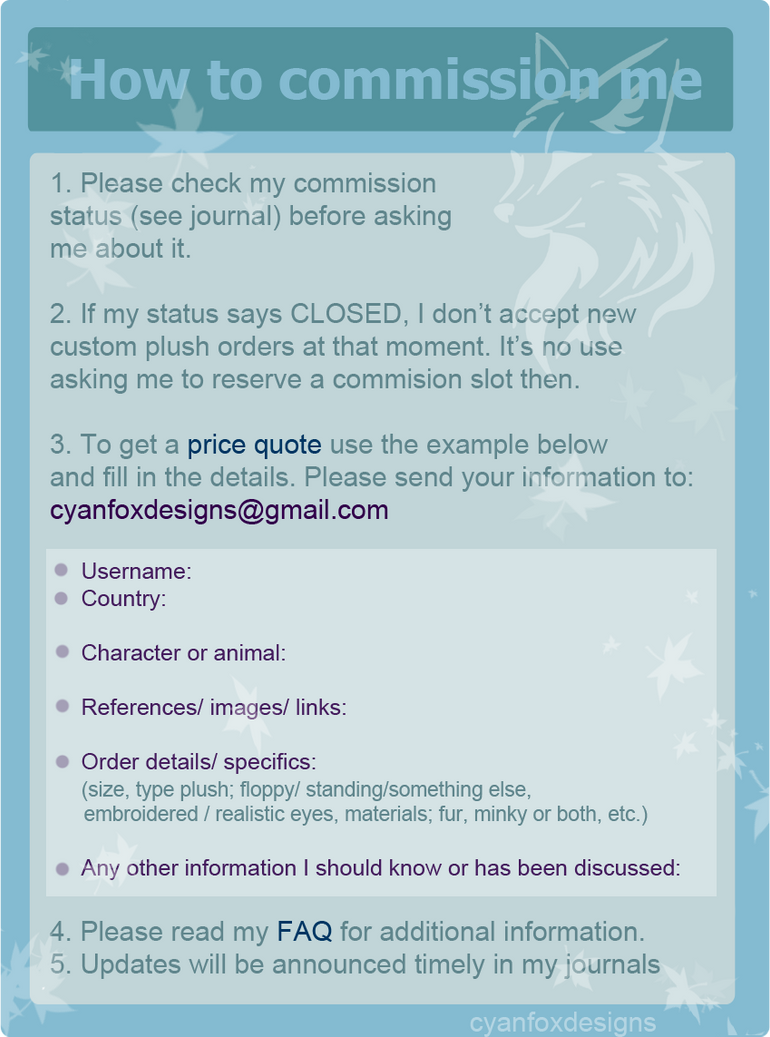 Commission and Price quote guide (READ THIS) by goiku