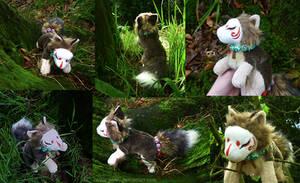 SOLD Masked kitsune Forest spirit plush by CyanFox3