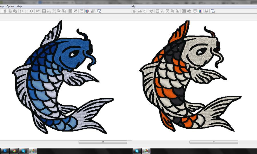 Koi fish embroidery pattern WIP by goiku