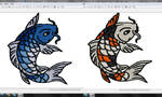 Koi fish embroidery pattern WIP