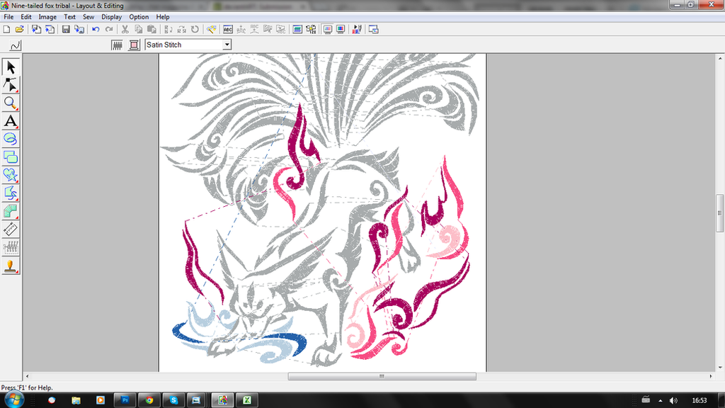 Nine Tailed Fox Embroidery Pattern Ver2 By Cyanfox3 On Deviantart