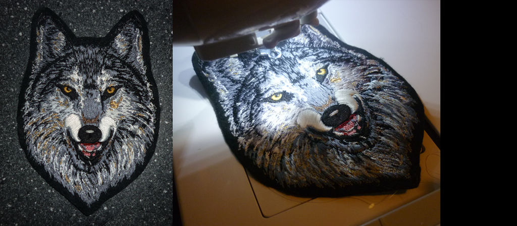SOLD - Grey Alpha wolf head - embroidered patch by goiku