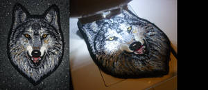 SOLD - Grey Alpha wolf head - embroidered patch