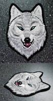 FOR SALE: White Alpha wolf head -embroidered patch