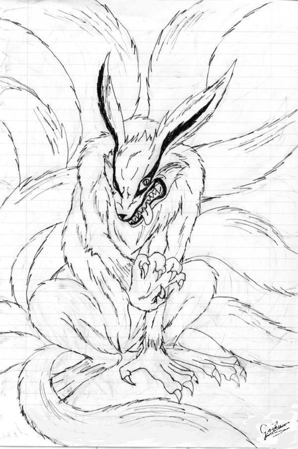 Kyuubi no kitsune naruto by goiku on deviantart for Kitsune coloring pages