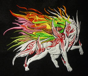 Shiranui Okami Embroidery by CyanFox3