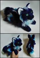 SOLD- Dark Blue Frost fox ~ Small floppy by CyanFox3