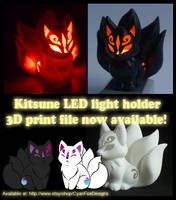 Kitsune LED Light holder ~ 3D Print file by CyanFox3