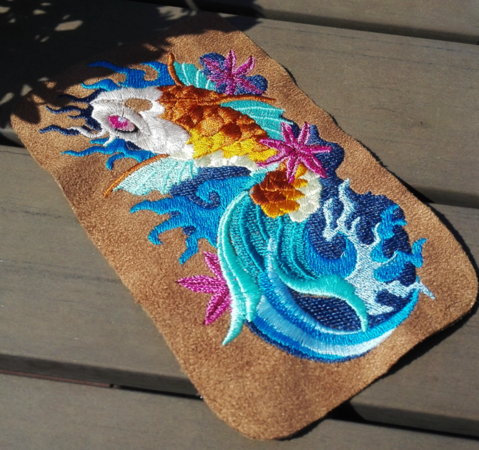 Japanese koi fish ~ embroidered phone case WIP by goiku