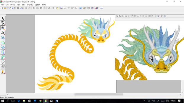 Iridescent chinese dragon ~ embroidery WIP