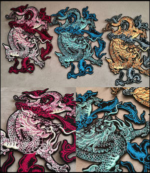 NEW Chinese dragons ~ XL embroidered patch