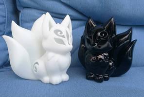 3D Printed Resin kitsune models